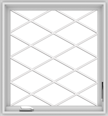 WDMA 28x30 (27.5 x 29.5 inch) White Vinyl uPVC Crank out Casement Window  with Diamond Grills