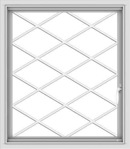 WDMA 28x32 (27.5 x 31.5 inch) Vinyl uPVC White Push out Casement Window  with Diamond Grills