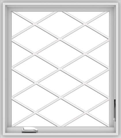 WDMA 28x32 (27.5 x 31.5 inch) White Vinyl uPVC Crank out Casement Window  with Diamond Grills