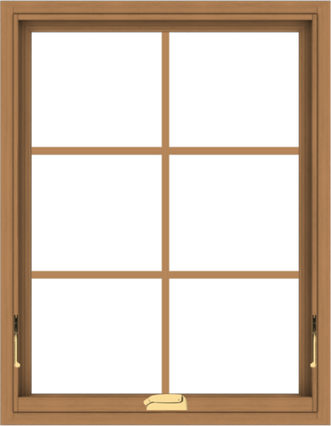 WDMA 28x36 (27.5 x 35.5 inch) Oak Wood Dark Brown Bronze Aluminum Crank out Awning Window with Colonial Grids Interior