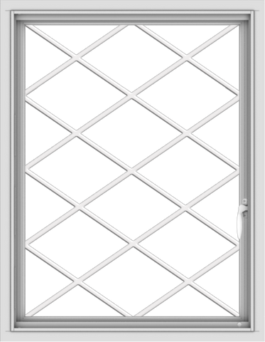 WDMA 28x36 (27.5 x 35.5 inch) Vinyl uPVC White Push out Casement Window  with Diamond Grills