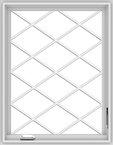 WDMA 28x36 (27.5 x 35.5 inch) White Vinyl uPVC Crank out Casement Window  with Diamond Grills