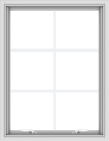 WDMA 28x36 (27.5 x 35.5 inch) White uPVC Vinyl Push out Awning Window with Colonial Grids Interior