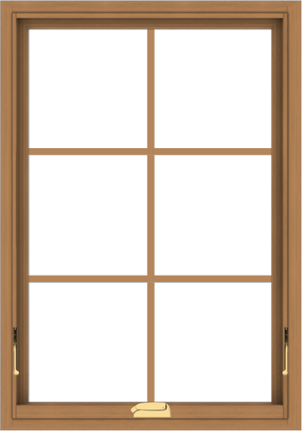 WDMA 28x40 (27.5 x 39.5 inch) Oak Wood Dark Brown Bronze Aluminum Crank out Awning Window with Colonial Grids Interior