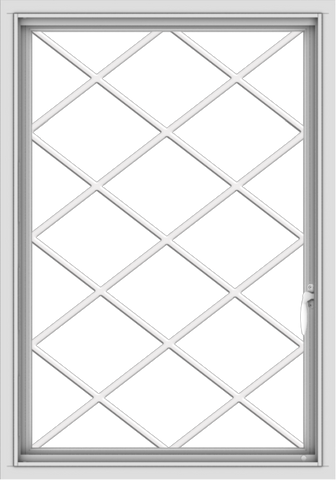 WDMA 28x40 (27.5 x 39.5 inch) Vinyl uPVC White Push out Casement Window  with Diamond Grills