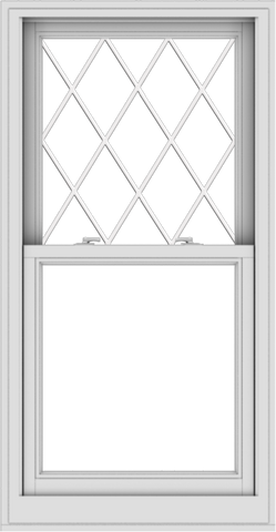 WDMA 28x54 (27.5 x 53.5 inch)  Aluminum Single Double Hung Window with Diamond Grids