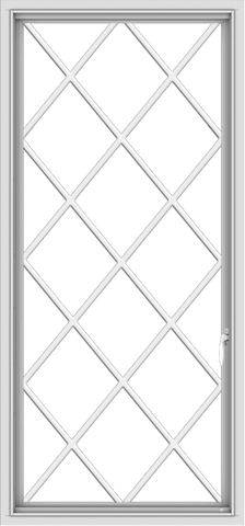WDMA 28x60 (27.5 x 59.5 inch) White Vinyl uPVC Push out Casement Window without Grids with Diamond Grills