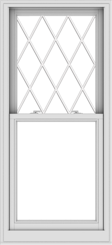 WDMA 28x61 (27.5 x 60.5 inch)  Aluminum Single Double Hung Window with Diamond Grids
