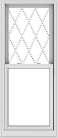 WDMA 28x66 (27.5 x 65.5 inch)  Aluminum Single Double Hung Window with Diamond Grids
