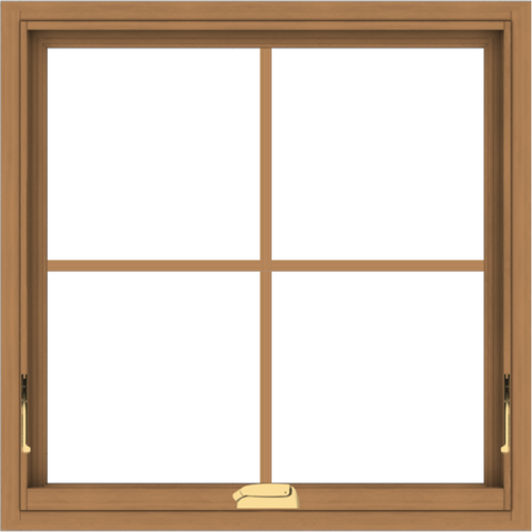 WDMA 30x30 (29.5 x 29.5 inch) Oak Wood Dark Brown Bronze Aluminum Crank out Awning Window with Colonial Grids Interior