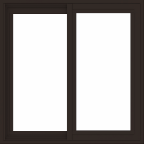 WDMA 30x30 (29.5 x 29.5 inch) Vinyl uPVC Dark Brown Slide Window without Grids Exterior