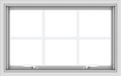 WDMA 32x20 (31.5 x 19.5 inch) White uPVC Vinyl Push out Awning Window with Colonial Grids Interior