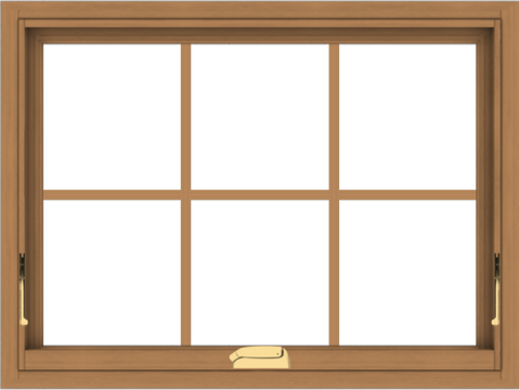 WDMA 32x24 (31.5 x 23.5 inch) Oak Wood Dark Brown Bronze Aluminum Crank out Awning Window with Colonial Grids Interior