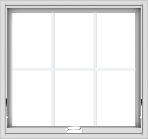 WDMA 32x30 (31.5 x 29.5 inch) White Vinyl uPVC Crank out Awning Window with Colonial Grids Interior