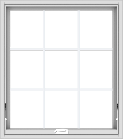 WDMA 32x36 (31.5 x 35.5 inch) White Vinyl uPVC Crank out Awning Window with Colonial Grids Interior