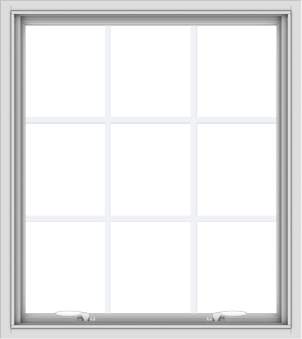 WDMA 32x36 (31.5 x 35.5 inch) White uPVC Vinyl Push out Awning Window with Colonial Grids Interior