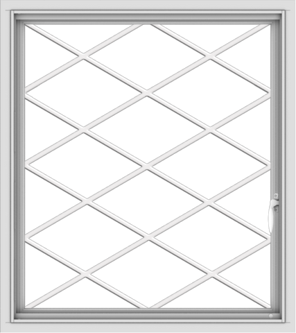 WDMA 32x36 (31.5 x 35.5 inch) White uPVC Vinyl Push out Casement Window without Grids with Diamond Grills