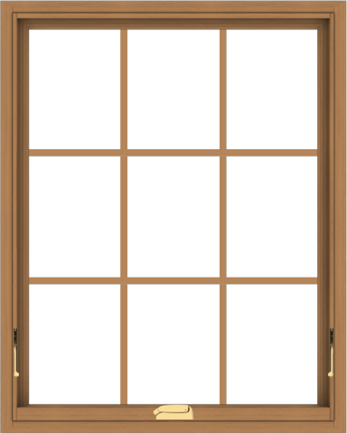 WDMA 32x40 (31.5 x 39.5 inch) Oak Wood Dark Brown Bronze Aluminum Crank out Awning Window with Colonial Grids Interior