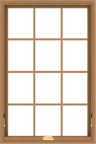 WDMA 32x48 (31.5 x 47.5 inch) Oak Wood Dark Brown Bronze Aluminum Crank out Awning Window with Colonial Grids Interior