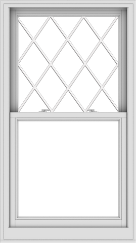 WDMA 32x57 (31.5 x 56.5 inch)  Aluminum Single Double Hung Window with Diamond Grids