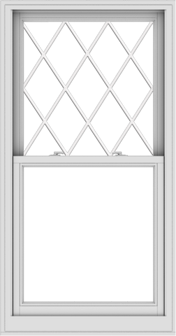 WDMA 32x61 (31.5 x 60.5 inch)  Aluminum Single Double Hung Window with Diamond Grids