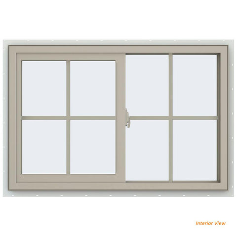 36x24 35.5x23.5 Bronze Vinyl Sliding Window With Colonial Grids Grilles