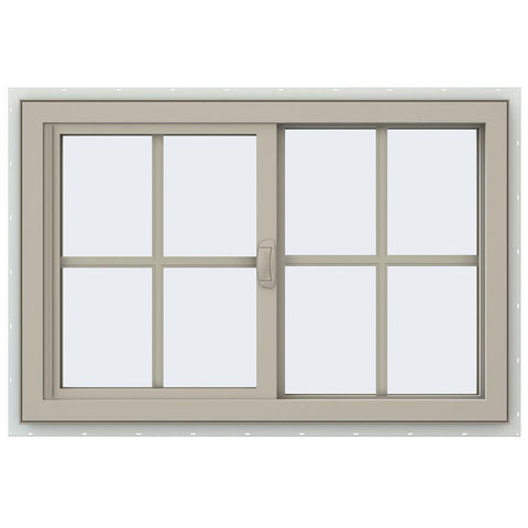 36x24 35.5x23.5 Vinyl PVC Sliding Window With Colonial Grids Grilles