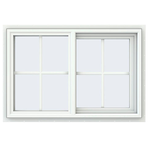 36x24 35.5x23.5Whit Vinyl Sliding Window With Colonial Grids Grilles
