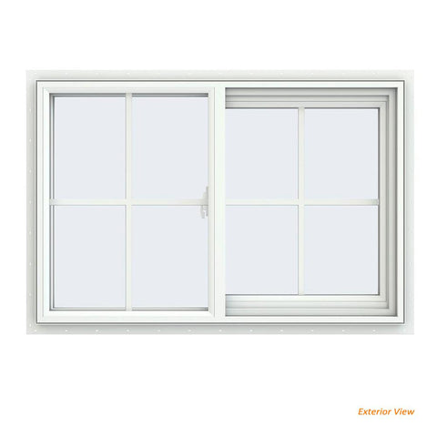 36x24 35.5x23.5 White Vinyl Sliding Window With Colonial Grids Grilles