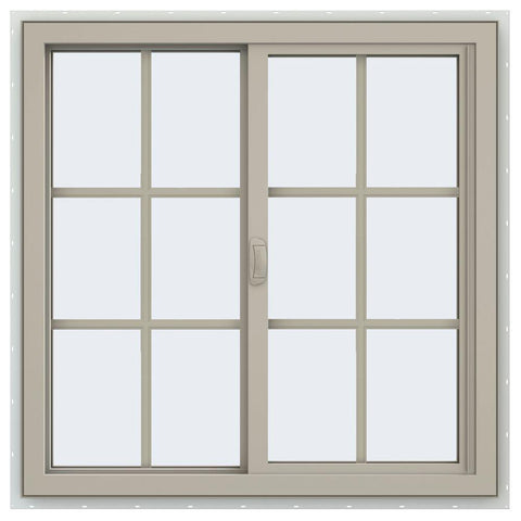 36x36 35.5x35.5 Vinyl Window Sliding With Colonial Grids Grilles