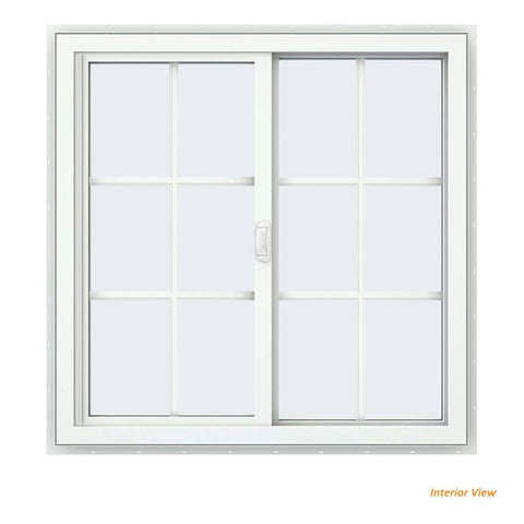 35x35 34.5x34.5 White Vinyl Sliding Window With Colonial Grids Grilles