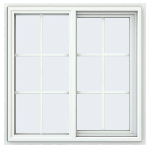 34x34 33.5x33.5 White Vinyl Sliding Window With Colonial Grids Grilles