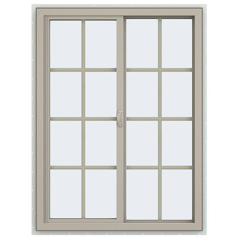 36x48 35.5x47.5 Vinyl Pvc Sliding  Window With Colonial Grids Grilles