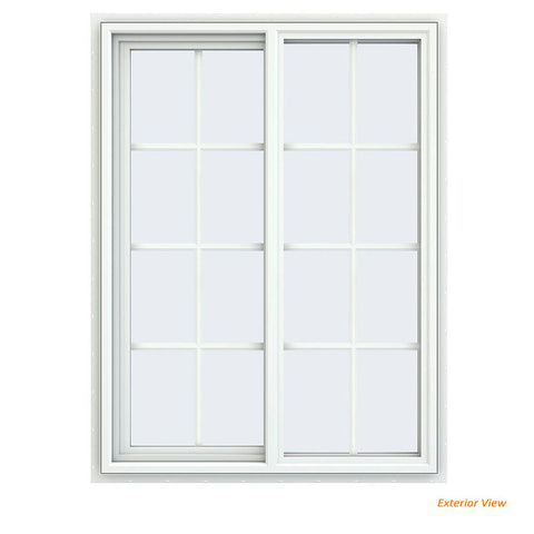 36x48 35.5x47.5 White Vinyl Sliding Window With Colonial Grids Grilles