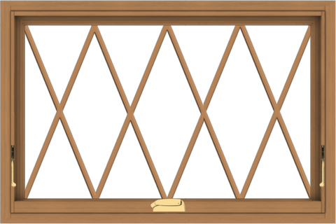 WDMA 36x24 (35.5 x 23.5 inch) Oak Wood Dark Brown Bronze Aluminum Crank out Awning Window without Grids with Diamond Grills