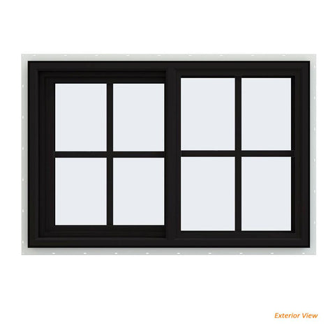36x24 Black Vinyl Sliding Window With Colonial Grids Grilles