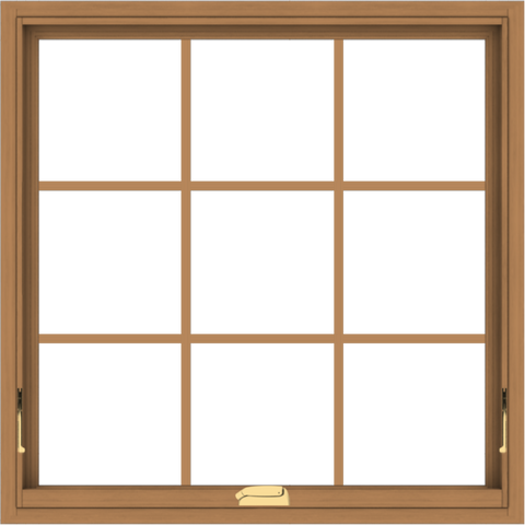 WDMA 34x34 (33.5 x 33.5 inch) Oak Wood Dark Brown Bronze Aluminum Crank out Awning Window with Colonial Grids Interior