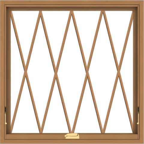 WDMA 34x34 (33.5 x 33.5 inch) Oak Wood Dark Brown Bronze Aluminum Crank out Awning Window without Grids with Diamond Grills
