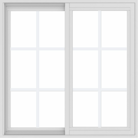 WDMA 34x34 (33.5 x 33.5 inch) Vinyl uPVC White Slide Window with Colonial Grids Exterior