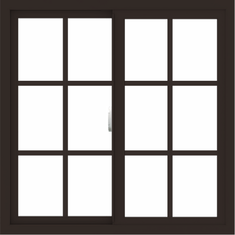 WDMA 34x34 (33.5 x 33.5 inch) Vinyl uPVC Dark Brown Slide Window with Colonial Grids Exterior