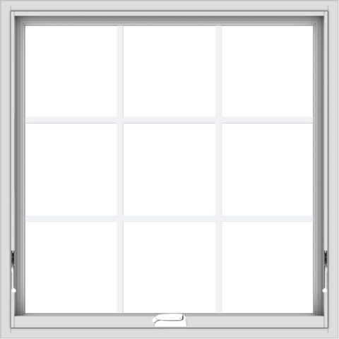 WDMA 34x34 (33.5 x 33.5 inch) White Vinyl uPVC Crank out Awning Window with Colonial Grids Interior
