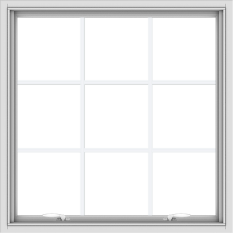 WDMA 34x34 (33.5 x 33.5 inch) White uPVC Vinyl Push out Awning Window with Colonial Grids Interior