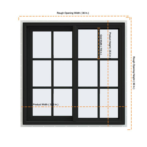 36x36 Bronze Color Vinyl Sliding Window With Colonial Grids Grilles