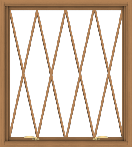 WDMA 36x40 (35.5 x 39.5 inch) Oak Wood Green Aluminum Push out Awning Window without Grids with Diamond Grills