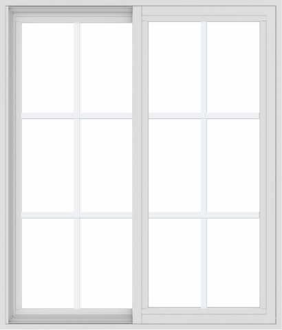 WDMA 36x42 (35.5 x 41.5 inch) Vinyl uPVC White Slide Window with Colonial Grids Exterior