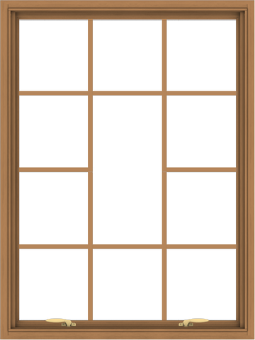 WDMA 36x48 (35.5 x 47.5 inch) Oak Wood Green Aluminum Push out Awning Window without Grids with Victorian Grills