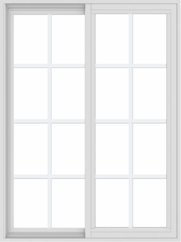 WDMA 36x48 (35.5 x 47.5 inch) Vinyl uPVC White Slide Window with Colonial Grids Exterior