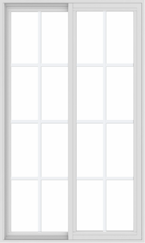 WDMA 36x60 (35.5 x 59.5 inch) Vinyl uPVC White Slide Window with Colonial Grids Exterior