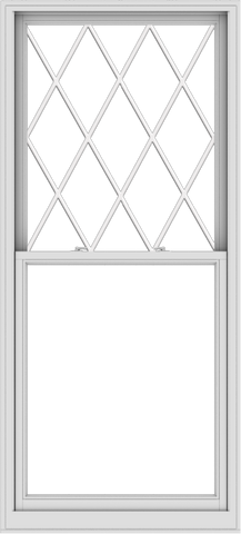 WDMA 38x84 (37.5 x 83.5 inch)  Aluminum Single Double Hung Window with Diamond Grids