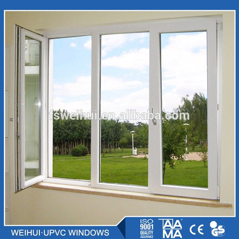 4 Panel Slide Impact Resistant Louvre Glass Horizontal Sliding Vinyl Interior Office Double Open Vertical Blade Storm Window on China WDMA